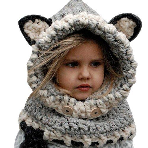 West See Winter Mütze Kinder Kindhut Fuchs Handgestrickt Schalkragen Kindmütze Caps Kopfbedeckung (Grau) (Lustige Kinder-wintermütze)