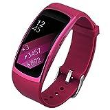 V-MORO Für Gear Fit 2 Pro / Fit2 Armband Soft Silikon Sport Armband Ersatzband Gurte für Samsung Fit2 Pro SM-R365 und Gear Fit2 SM-R360 Smartwatch (Klein, Lila)