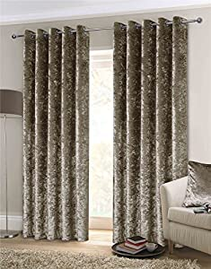"""Luxury Thick Crushed Velvet Mink Beige Lined Ring Top Woven Curtains 66"""" X 72"""" from Curtains"""