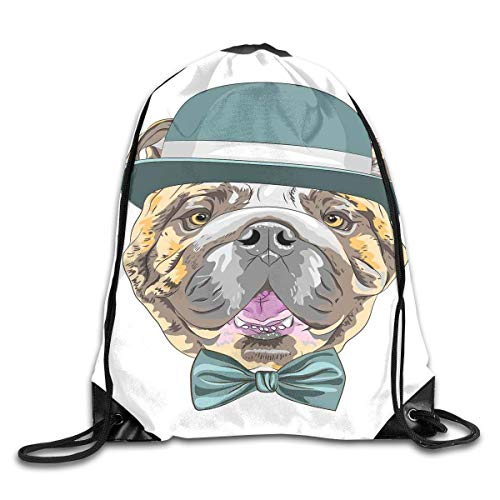 Naiyin Drawstring Backpacks Bags,Dog In A Hat and Bow Tie Animal Design with Formal Attire Pure Breed,5 Liter Capacity,Adjustable Orange Silk Bow Tie