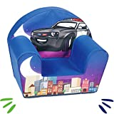 DELSIT Kindersessel Babysessel Kinder Sessel Baby Sitz Kindermöbel für Jungen POLIZEI Blau