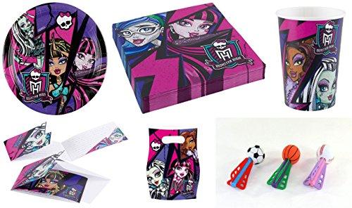 (Enter-Deal-Berlin 8 Kinder Set - Monster HIGH 2 - ( 8X Teller, 8X Becher, 20x Servietten, 6X Einladungskarten, 6X Mitgebseltüten + Softbälle Dart ))
