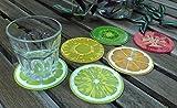 100 Goods Silikon-Frucht-Scheibe Allwetter-Bierdeckel 2015 edition, 3.5', Set von 8 Kiwi, Orange, Zitrone, Limette, Drachenfrucht , Wassermelone, Tomate, und Ananas