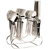 Shapes Stainless Steel Cutlery Set of Spoons and Fork with Round Stand, 24 Pieces, 6 Inches (Silver, SC/FT/24DK WITH R. STAND)