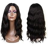 Perruques Synthétique pour femmes Noir Couleur Noir Bouclés style naturelle 22 Inch (#1B)