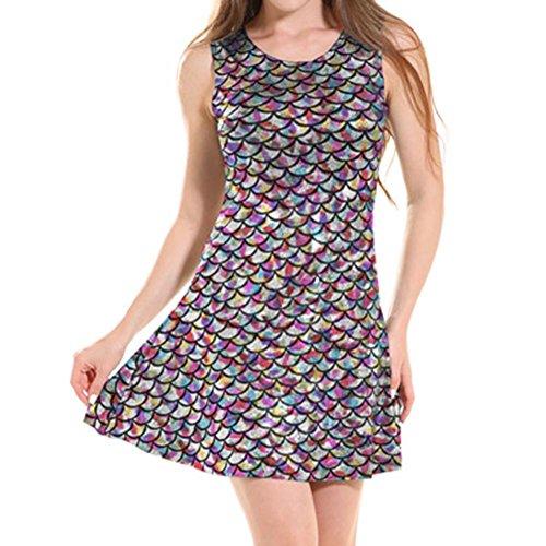 Juleya Mermaid Kleid Sexy ärmellose Fischschuppen Kleid Bodycon Rockabilly Kleid Multicolor Meerjungfrau Kleid Muster