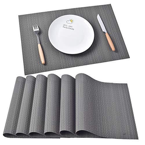Fambibay Platzsets Kunststoff Schwarz Platzdeckchen 6er Set Abwaschbar Rutschfest Plastik Tischsets