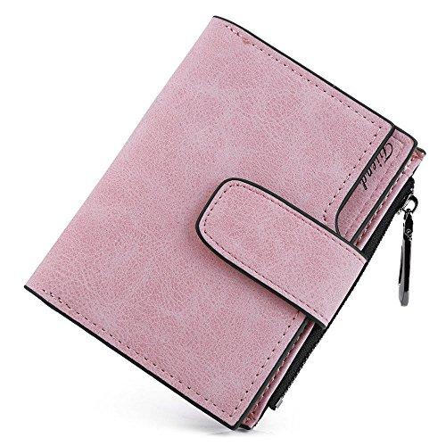 Wenquan,Damen Einfarbig Snap Button Zip Short Buckle Wallet(color:HELL-PINK,size:HORIZONTAL) - Button Zip Wallet