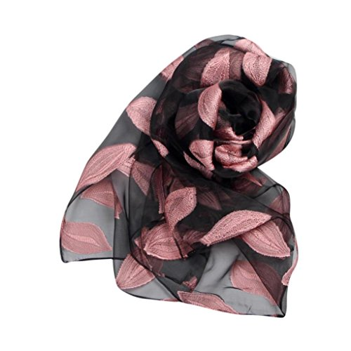 Kavitoz Fashion Women Leaves Long Soft Wrap scarf Ladies Shawl Organza Scarf Scarves Luxurious Finishing Touch To Any Outfit (Pink)