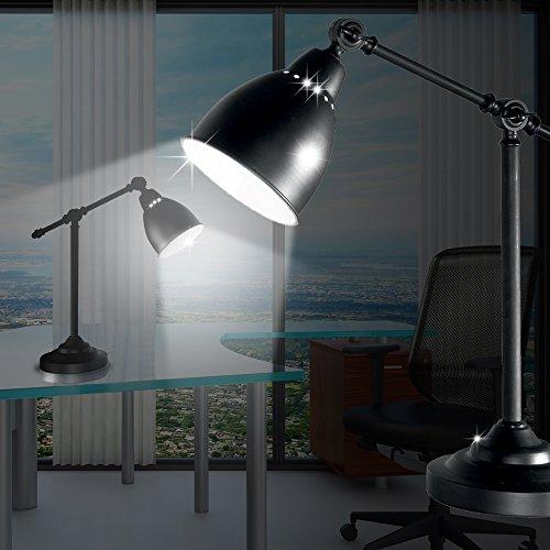 MIA Light Landhaus Schreib ↥550mm/ Rustikal/ Schwarz/ Lampe Bürolampe Büroleuchte Gelenkarmlampe Gelenklampe Gelenkleuchte Schreibtischlampe Schreibtischleuchte (Schreibtisch Rustikal Schwarz)