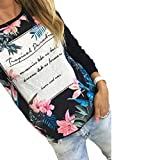 OVERDOSE Damen Modus Neue Frische Printing Blumen Langarm-T-Shirt beiläufige Bluse