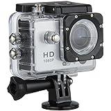 Excelvan - Videocámara de Acción - 12MP, HD, 1080P, Gran Angular, Sumergible hasta 30m, Incluye múltiples accesorios (Color Gris)
