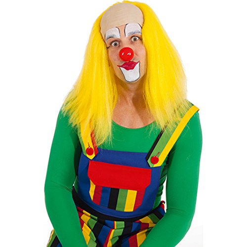 NET TOYS Clown Perücke Glatzenperücke gelb Lange Clownperücke Glatzen Clownsperücke Harlekin Haare mit Glatze Clownglatze Faschingsperücke Karnevalskostüme Accessoires (Clown Perücke Glatze)
