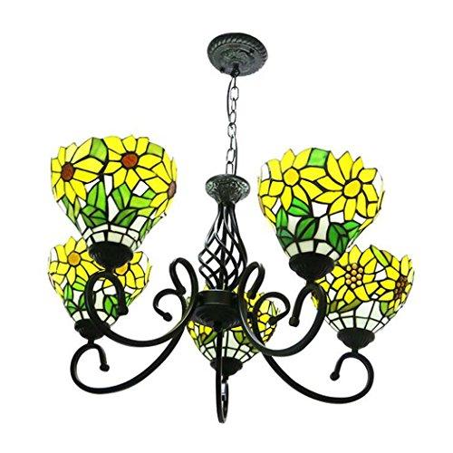 Tiffany Stil Hängende Lichter Glasmalerei 5 Arm Sun Flower Kronleuchter, 8 Zoll Led Schmiedeeisen Kronleuchter Hause Deckenleuchte 110-240 V - Fünf Arm Schmiedeeisen Kronleuchter