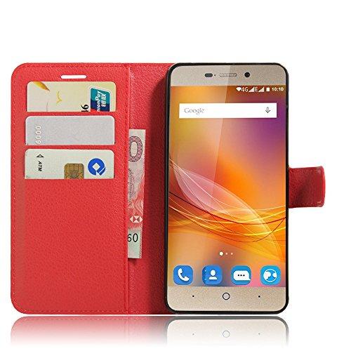 SMTR ZTE blade A452 Wallet Tasche Hülle - Ledertasche im Bookstyle in Rot - [Ultra Slim][Card Slot][Handyhülle] Flip Wallet Case Etui für ZTE blade A452