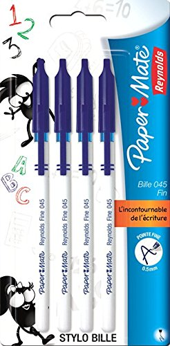 paper-mate-045-bille-carbure-stylo-pointe-fine-bleu-lot-de-4