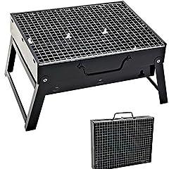 Idea Regalo - SunJas BBQ Barbecue a carbonella da viaggio Mini Grill Grill da tavolo da picnic campeggio Grill