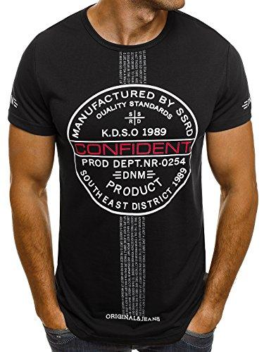 OZONEE Herren T-Shirt mit Motiv Kurzarm Rundhals Figurbetont J.STYLE SS179 Schwarz_J.STYLE-SS176