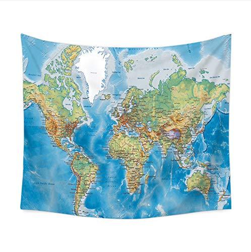 HYDDAXJW Polyester Weltkarte Wandteppich Blatt Blauer Ozean Gedruckte Wandbehang Tapisserie Teppich Wand Tuch,150X200Cm -