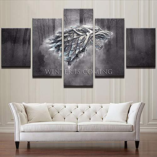 Marco De Decoración del Hogar Arte De La Pared Cartel Moderno 5 Panel Juego De Tronos para Sala De Estar Lienzo HD Impresión De Cuadros Modulares Pintura