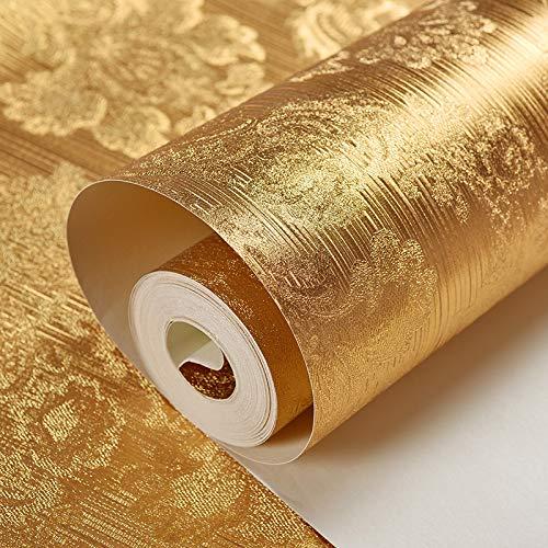 Goldene Tapete Moderne Einfache Wohnzimmer Gold Folie Tapete Peeling Gelb Reine Farbe Schlafzimmer-lampe Pool Dach Wand Muster -