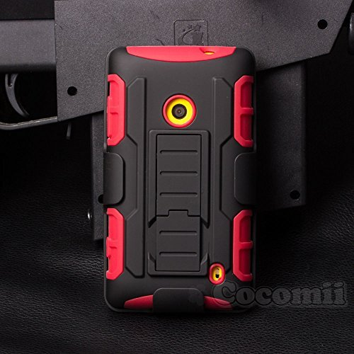 Nokia Lumia 520 Hülle, Cocomii Robot Armor NEW [Heavy Duty] Premium Belt Clip Holster Kickstand Shockproof Hard Bumper Shell [Military Defender] Full Body Dual Layer Rugged Cover Case Schutzhülle Nokia (Red) (520 Nokia Silicon Case)