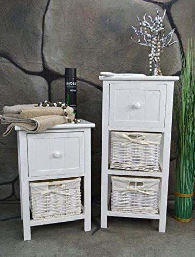 Livitat Badschrank Nachtschrank Badkommode Korbregal Kommode H70 cm Nachttisch Holz Weiß LV1083 (1 x 2 Körbe)