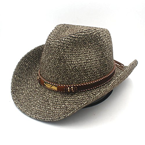 Ruanyi Sommer Stroh Hollow Western Cowboy Hut mit Mode Leder für Frauen Männer (Farbe : 3, Size : - Leder-hut-frauen