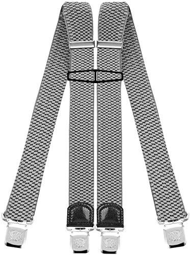 Decalen Hosenträger für Herren mit 4 Starken Clips X Form Lang Eine Größe Passt Alle Verschiedenen Farben (Leichtes Silber)