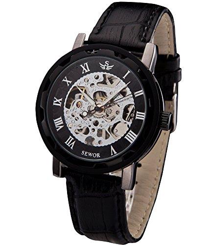 SEWOR Mens Hollow Skeleton Carving Mechanical Hand Wind Wrist Watch (Black)
