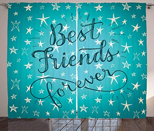 ERCGY Quote Curtains, Best Friends Forever Message on Scribbled and Hatched Stars, Living Room Bedroom Window Drapes 2 Panel Set, 110 inch X 110 inch, Pale Sea Green Beige and Dark Teal (Care Bears Forever Friends)