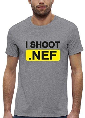 Fotografen Premium Herren T-Shirt aus Bio Baumwolle mit I Shoot NEF Marke Stanley Stella Heather Grey