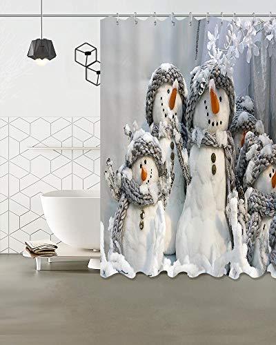 LB Schneemann mit Karotten-Nase Duschvorhang für Badezimmer, 180W x180H cm wasserdicht Polyester Stoff Badvorhang Haken enthalten