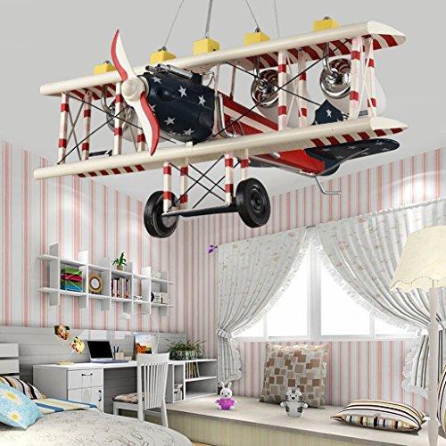 Guo Kinderzimmer-Lichter Jungen-Raum-Flugzeug-Lichter Kronleuchter-Pers5onlichkeit-kreative Eisen-Lampen E27 Lampen-Hafen - 3