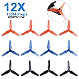 DroneAcc 12pcs T5044 3-Blade Propeller 5 Inch Triblade Prop Compatible with 2204 2205 2206 2207 2300-2600KV Brushless Motors FPV Racing Drone Quadcopter