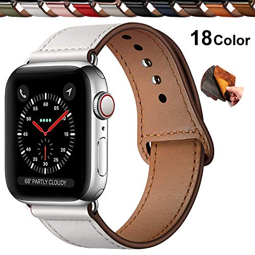 Chok Idea Innovador Hebilla Piel Genuina Correa Compatible with Apple Watch 38mm 40mm,Encubierto Hebilla Ensure Clean Fit Correa Replacment for iWatch Series 5 & 4 3/2/1,White