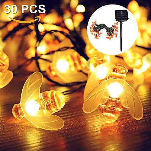 Solar Lichterkette Led,Nasharia 30er LED 6.5m Wasserdichte Biene Lichterketten Außen 8 Modi Innen verziert für Weihnachtsbaum, Garten, Partei, Hochzeit, Haus, festliches Beleuchtung(warmes Weiß)