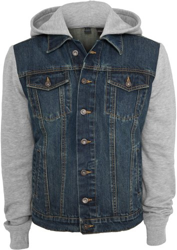 Urban Classics Herren Jacke Hooded Denim Fleece Jacket Lightblue