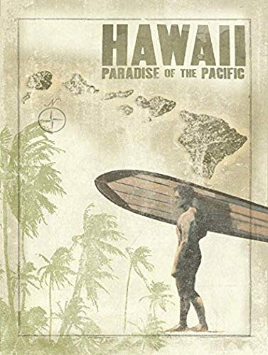 Harvesthouse Hawaii Map Surfer Metal Sign, Paradise of The Pacific, Palm Trees by - Pacific Pod
