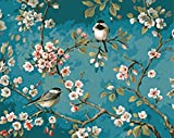 [Framless] Paint by Numbers Kits for Adults Children Seniors Junior Beginner Acrylics Diy oil Painting Kits - Linen material-Like Birds In The Branches 16x20 inch
