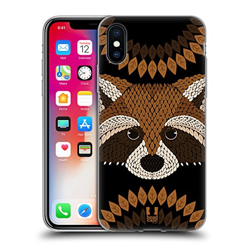 Head Case Designs Waschbär Tier Blatt Mosaik Soft Gel Hülle für Apple iPhone 5 / 5s / SE Waschbär