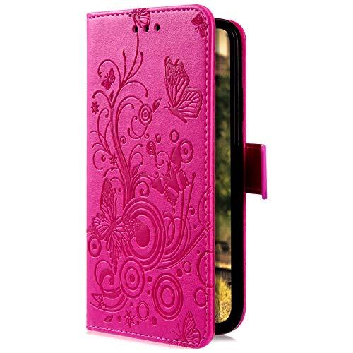 Uposao Kompatibel mit Samsung Galaxy A8 2018 Handyhülle Handytasche Retro Schmetterling Blumen Muster Schutzhülle Flip Case Brieftasche Klapphülle Wallet Leder Hülle Cover Tasche,Hot Pink