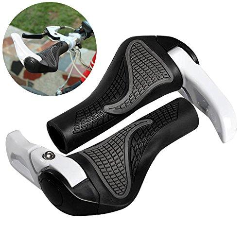 Puños Bicicleta Ergonomicos,Wafly 2PCS Puños para Bicicleta de Montaña Con Cuernos Antideslizante Aluminio Caucho Bike Agarre para Bicicleta Moto Montaña MTB BMX Plegable Bicicleta (22mm)-Negro Blanco