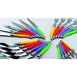 Laguiole Production - Ménagère 24 pièces multicolore - Set de couverts de table acier inox et ABS pour 6 personnes - Présentation coffret cadeau - Multicolore