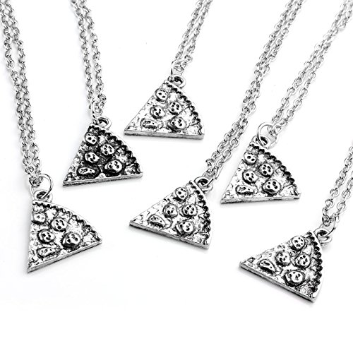 JOVIVI Anhänger, Silber Farbe Pizza Slice Freundschaftsketten Anhänger mit 50cm Kette, Halskette für Damen & Herren (Stück 6)
