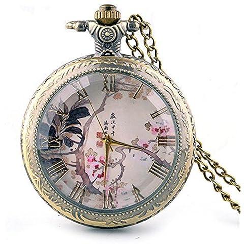 Reloj de bolsillo de moda bronce collar