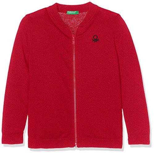 United Colors of Benetton Jungen Strickjacke L/S Sweater, Rot (Red 07C), 110 (Herstellergröße: XS)