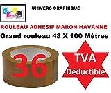 36 Rouleaux ruban adhésif emballage Marron havane pp silencieux Rouleau de 48 mm x 100 mètres (40% de plus que les 66 mètres long) ref UGRANH100-36