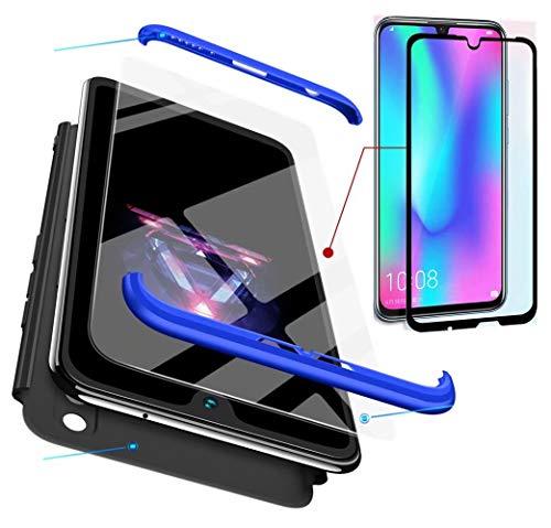 AILZH Huawei Honor 10 lite Hülle 360 Grad Schutzhülle PC Hartschale Anti-Schock HandyHülle Anti-Kratz Stoßfänger 360°Cover Case Matte Schutzkasten+Gehärteter Glasfilm(Blau schwarz)