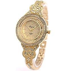 SIBOSUN Dame Femmes Montre-Bracelet Quartz Or Bande en Acier Inoxydable Cristal Blanc Cadran Dress Fashion Bracelet (1.Gold,JXQ122)